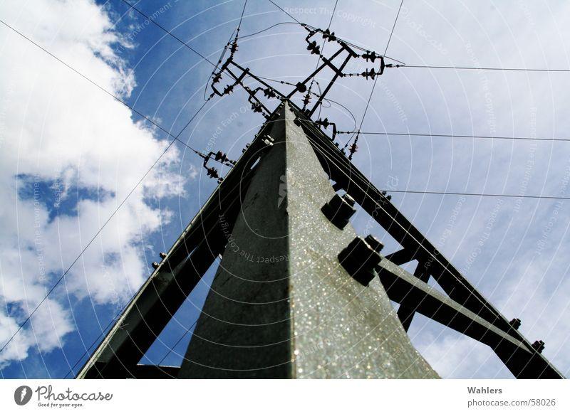 Atomkraft: Nein Danke! Strommast Elektrizität Wolken blau Stahl Froschperspektive Himmel Mischung