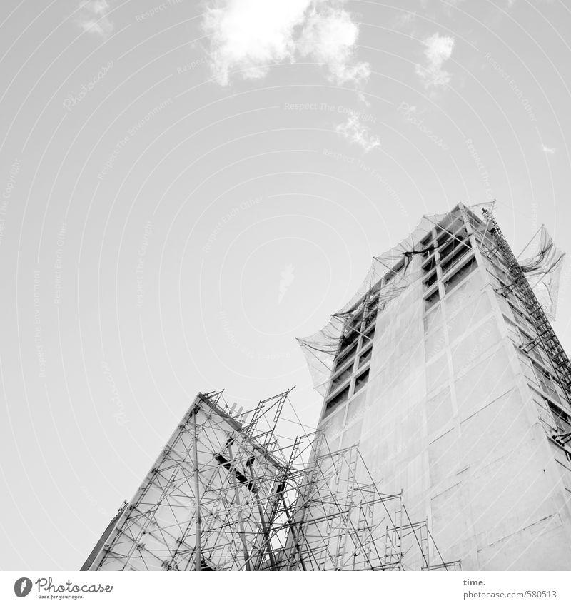 Wolkenkratzerbaby Arbeitsplatz Handwerk Baustelle Schönes Wetter New York City Stadtzentrum Hochhaus Bauwerk Gebäude Mauer Wand Fassade Dach Baugerüst Bauplane