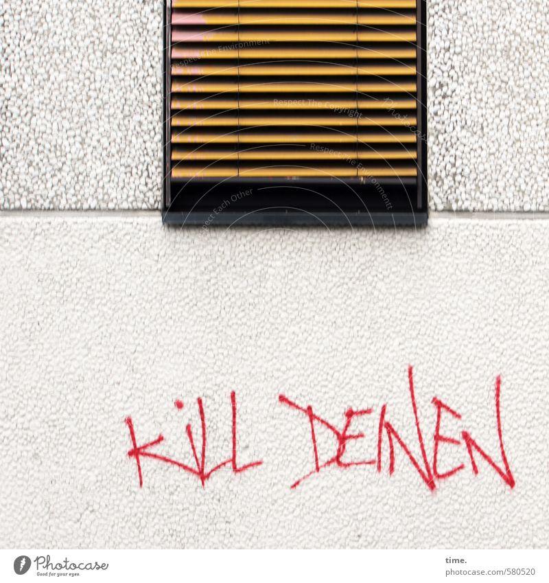 Alles nur Fassade | Zweckpessimismus Jalousie Kunst Mauer Wand Information Stein Beton Schriftzeichen Graffiti Linie Traurigkeit Tod verstört Misstrauen Wut