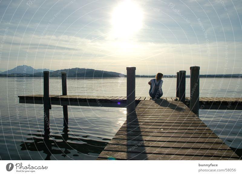 [gem]einsam unterwegs? Wasser Sonne ruhig Einsamkeit träumen See warten Hoffnung Romantik Aussicht Wunsch Steg Gedanke Treue Zugersee