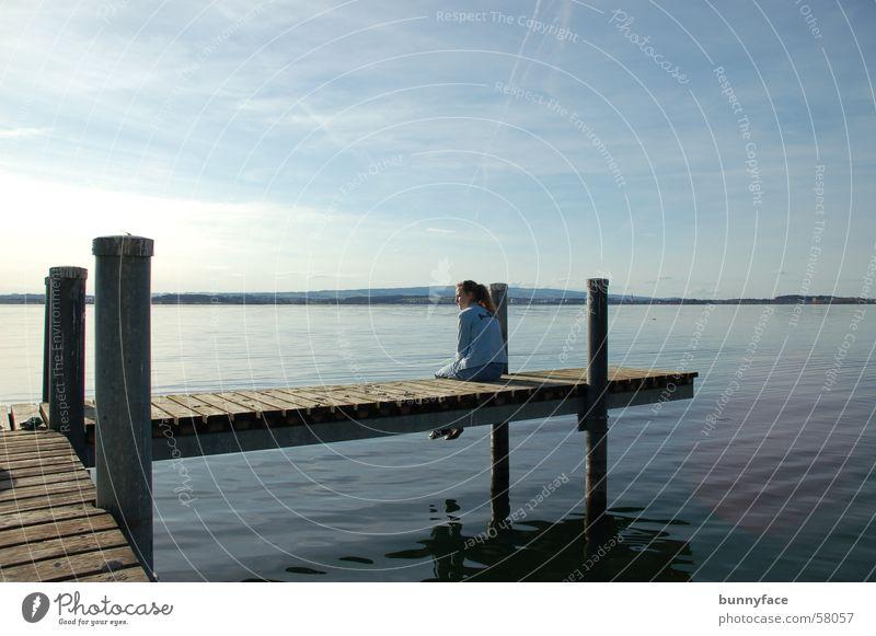 [un]erfüllte träume? Wasser blau ruhig Einsamkeit träumen See Zufriedenheit warten Hoffnung Pause Romantik Wunsch Steg Schweiz Zugersee