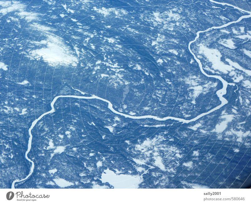 frozen river Natur Landschaft Erde Wasser Winter Eis Frost Wald Fluss Kanada Luftverkehr Flugzeugausblick gigantisch Unendlichkeit unten bizarr Einsamkeit kalt