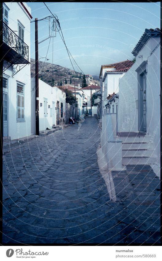 Griechische Szene Ferien & Urlaub & Reisen Tourismus Ferne Städtereise Sommer Sommerurlaub Insel Energiewirtschaft Umwelt Griechenland Kleinstadt Menschenleer