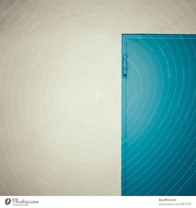 blue Kunst Haus Bauwerk Gebäude Mauer Wand Fassade Stein Beton Metall Linie blau grau Autotür türkis Geometrie Ecke Detailaufnahme Farbfoto Gedeckte Farben