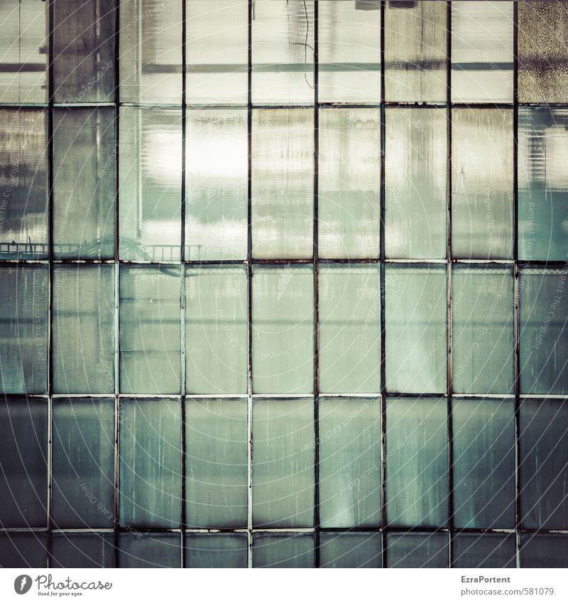 Glück und Glas Kunst Haus Industrieanlage Fabrik Bauwerk Gebäude Architektur Mauer Wand Fassade Fenster Metall Linie Streifen außergewöhnlich dreckig dunkel