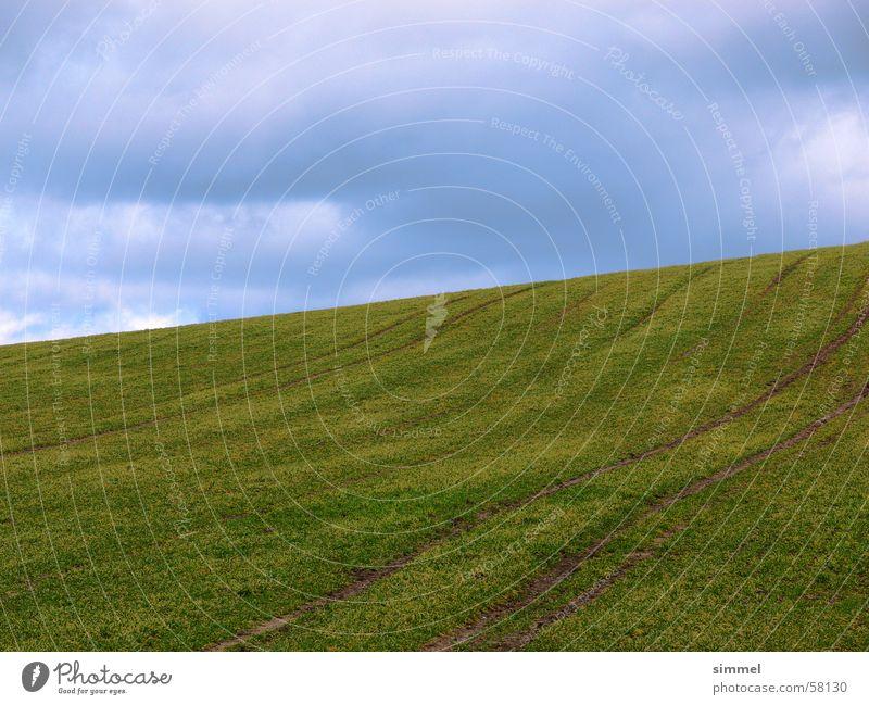 Grünes Feld grün blau Wolken Berge u. Gebirge Erde Hügel Furche