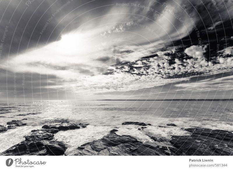 I Feel Space Umwelt Natur Landschaft Urelemente Himmel Wolken Gewitterwolken Sonne Sonnenlicht Wetter Wellen Küste Strand Riff Meer Stimmung beweglich Leben