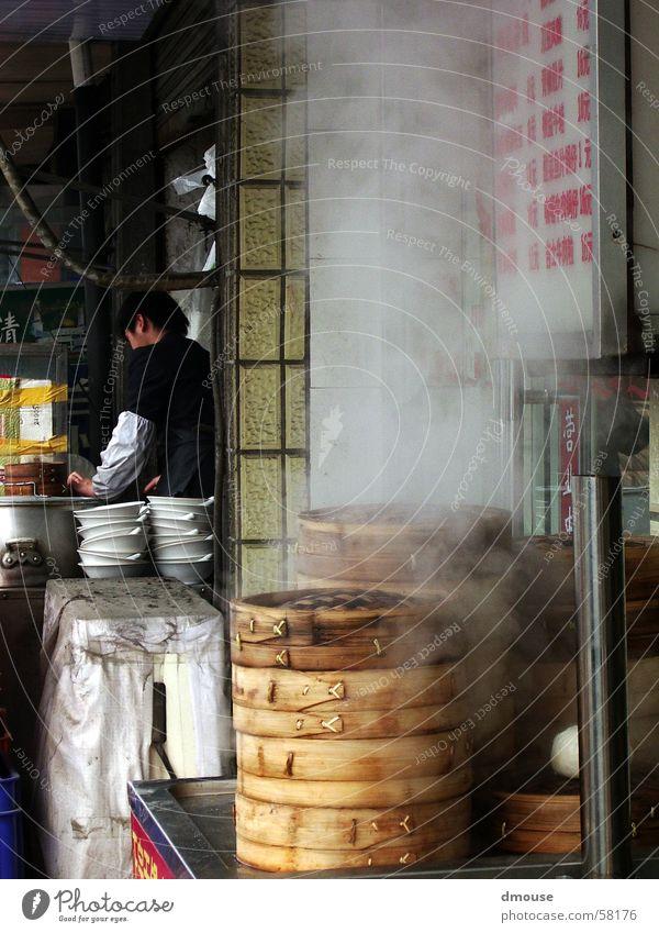 Baoziküche Ernährung Küche Asien China Restaurant Korb Wasserdampf Shanghai Fernost Asiatische Küche gedünstet Bapao Garküche Strassenrestaurant