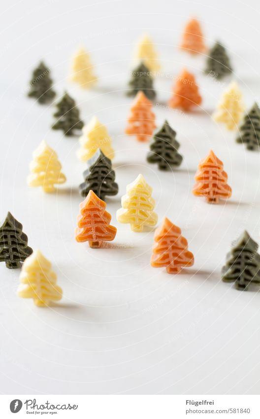 Bunter Weihnachtsnudelwald Ernährung lecker Weihnachtsbaum Nadelwald Nudeln kochen & garen Gastronomie mehrfarbig rot grün Winter Weihnachten & Advent Farbfoto