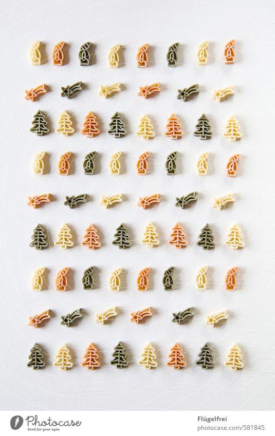 Kulinarische Weihnachten Lebensmittel Ernährung lecker Nudeln Weihnachten & Advent Tanne Weihnachtsmann Sternschnuppe Ordnung rot grün Postkarte kochen & garen