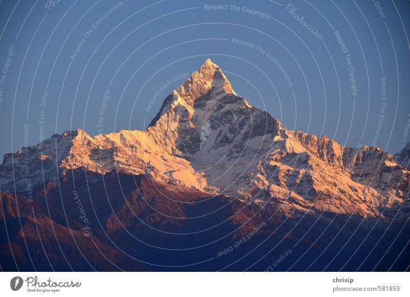 Machapucharé Umwelt Landschaft Himmel Wolkenloser Himmel Sonnenaufgang Sonnenuntergang Sonnenlicht Schönes Wetter Schnee Hügel Felsen Berge u. Gebirge