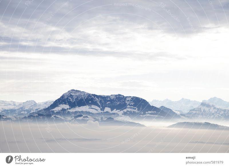Rigi Umwelt Natur Landschaft Himmel Wolken Nebel Alpen Berge u. Gebirge Gipfel natürlich blau weiß Schweiz Farbfoto Außenaufnahme Menschenleer Textfreiraum oben