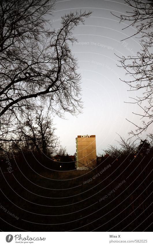 Morgenröte über dem bezaubernden Gotha Himmel alt Stadt Haus dunkel Graffiti Wand Gebäude Mauer Wohnung dreckig Häusliches Leben trist Hochhaus Sträucher Armut