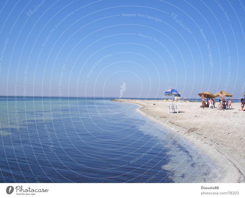 TUNIS-Oranginastrand Wasser Himmel Sonne Meer blau Sommer Freude Strand Ferien & Urlaub & Reisen ruhig Ferne Erholung träumen Wärme Insel Freizeit & Hobby