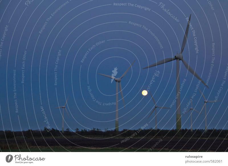 Mond vs. Energie I Himmel Natur blau Landschaft dunkel Herbst Luft Feld Wind Energiewirtschaft groß Klima Elektrizität bedrohlich Landwirtschaft