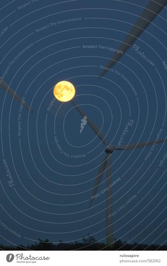 Mond vs. Energie II Himmel Natur blau Landschaft dunkel Herbst Luft Wind Energiewirtschaft groß Klima Elektrizität bedrohlich Landwirtschaft Wolkenloser Himmel