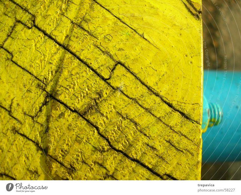 gelb- blau Holz Schraube Strukturen & Formen Farbe Linie