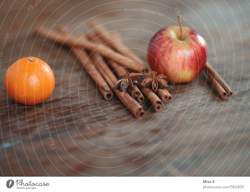 Zimtrinde und Apfel Weihnachten & Advent Holz Lebensmittel Frucht Dekoration & Verzierung Orange Ernährung Kochen & Garen & Backen süß Kräuter & Gewürze lecker