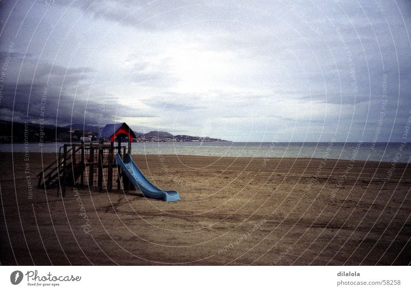 la playa Winter Strand Malaga See Lomografie Meer alone spain gray rain