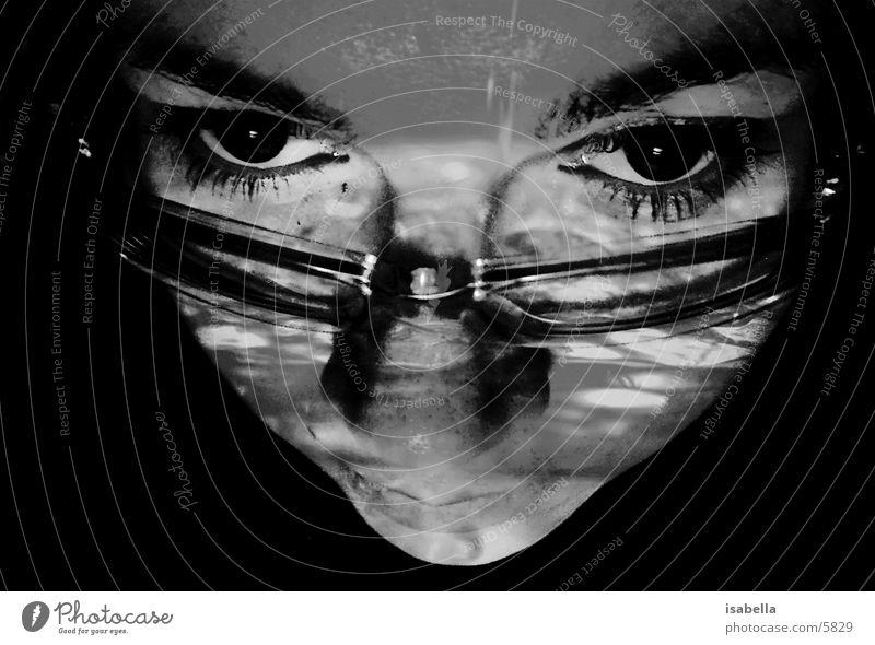 Selbstporträt Brille Reflexion & Spiegelung Licht Frau Gesicht Auge Schatten Perspektive
