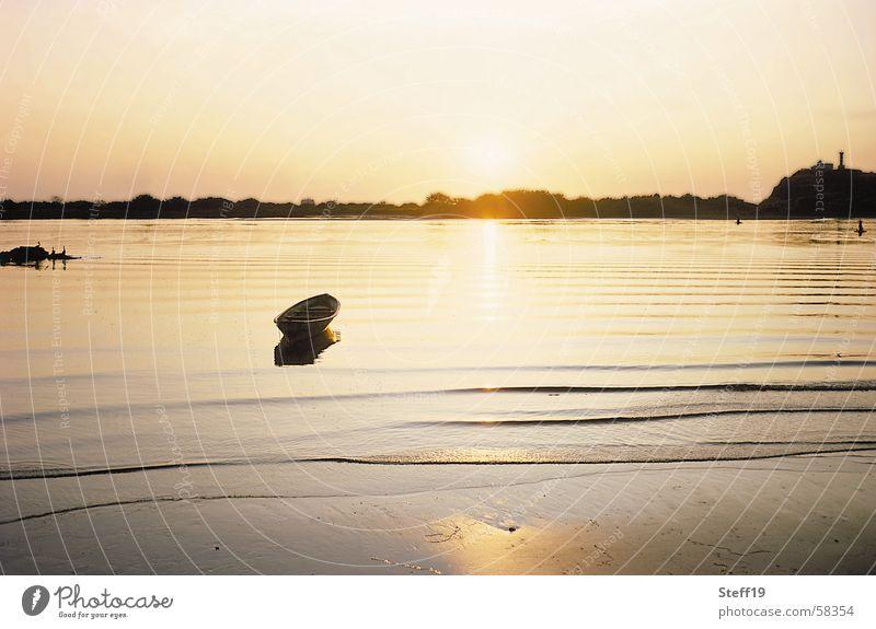 Sonnenuntergang Natur schön Meer ruhig Wellen Wind Horizont