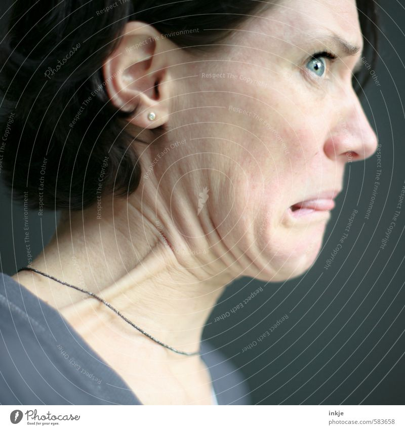 also wenn es etwas gibt, was ich GAR NICHT mag,.... Mensch Frau Freude Gesicht Erwachsene Leben Gefühle lustig Stil Stimmung Freizeit & Hobby Lifestyle authentisch Ernährung Kommunizieren Hautfalten