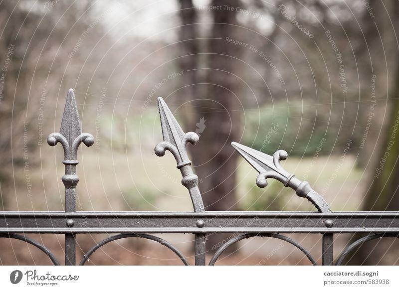 Ablehnende Haltung Freude Umwelt Gefühle Herbst lustig Metall Zusammensein Park Spitze Kommunizieren kaputt Neugier Sehnsucht Zaun Pfeil Platzangst