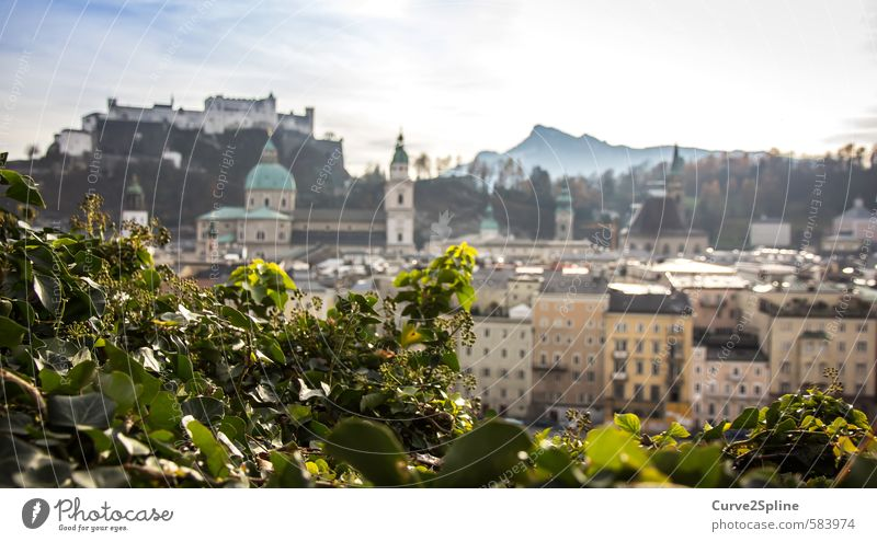 Salzburg Tourismus Städtereise Berge u. Gebirge Stadt Hauptstadt Altstadt Burg oder Schloss Freundlichkeit Österreich Licht Wärme Gebäude Farbfoto Außenaufnahme