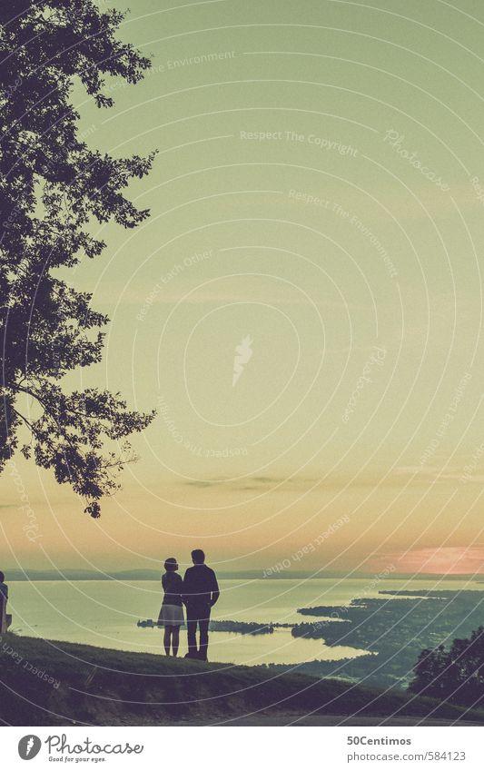 Zweisamkeit mit Sonnenuntergang Mensch Jugendliche Ferien & Urlaub & Reisen Sommer Baum Landschaft Freude 18-30 Jahre Ferne Wald Erwachsene Wiese Herbst