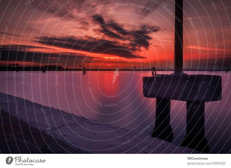 Sonnenuntergang in Venedig Ferien & Urlaub & Reisen Stadt Meer rot ruhig Ferne Freiheit außergewöhnlich Stimmung rosa Tourismus Ausflug violett Sommerurlaub