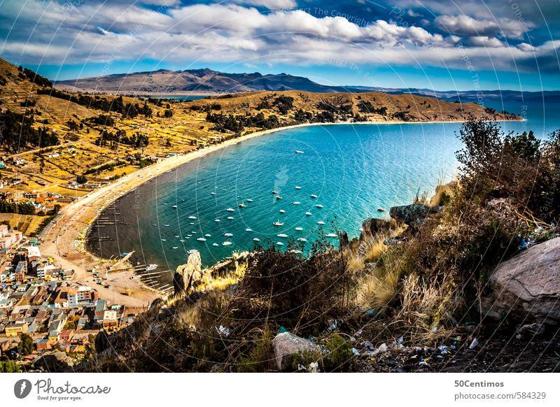 Copacabana in Bolivien Ferien & Urlaub & Reisen Tourismus Ausflug Abenteuer Ferne Freiheit Sightseeing Städtereise Sommer Wolken Klima Insel See Titicacasee
