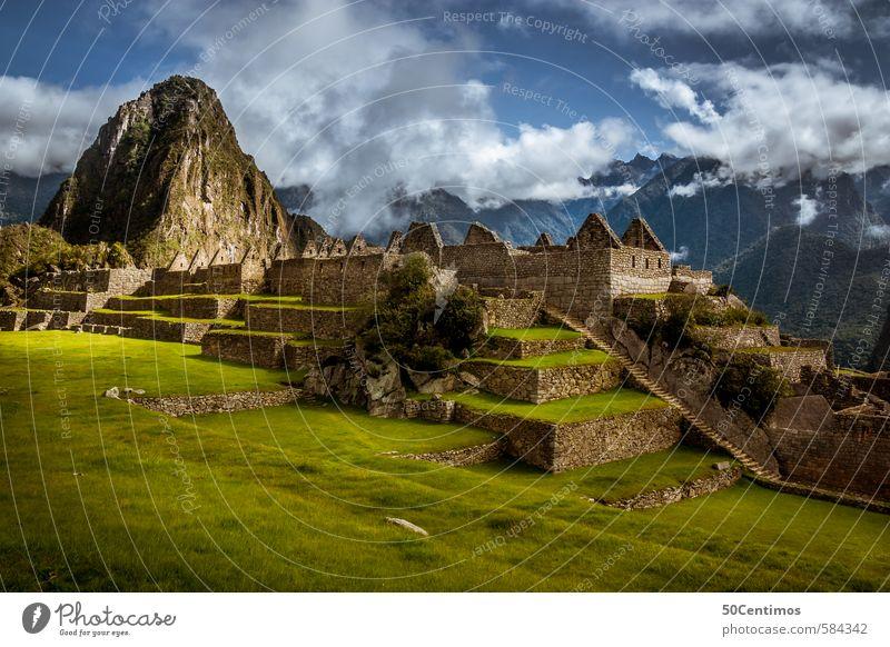 Weltwunder Machu Picchu Ferien & Urlaub & Reisen ruhig Ferne Berge u. Gebirge Umwelt Wiese Freiheit Tourismus Ausflug Abenteuer Hügel Vergangenheit Gelassenheit