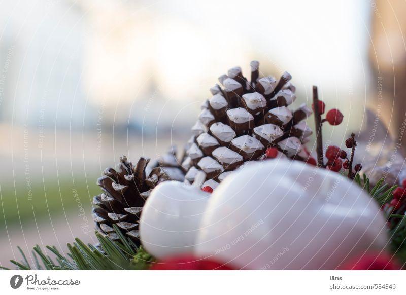 zweiter Kitsch Krimskrams Kreativität Tannenzweig Zapfen Apfel Gesteck Dekoration & Verzierung Farbfoto Außenaufnahme Menschenleer Textfreiraum oben Tag