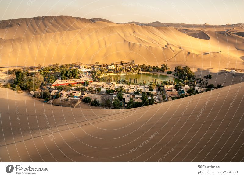 Oase mitten in der Wüste, Huacachina - Ica Peru Himmel Natur Ferien & Urlaub & Reisen Wasser Sommer Sonne ruhig Ferne Umwelt gelb Freiheit Sand Tourismus Ausflug einfach Sauberkeit