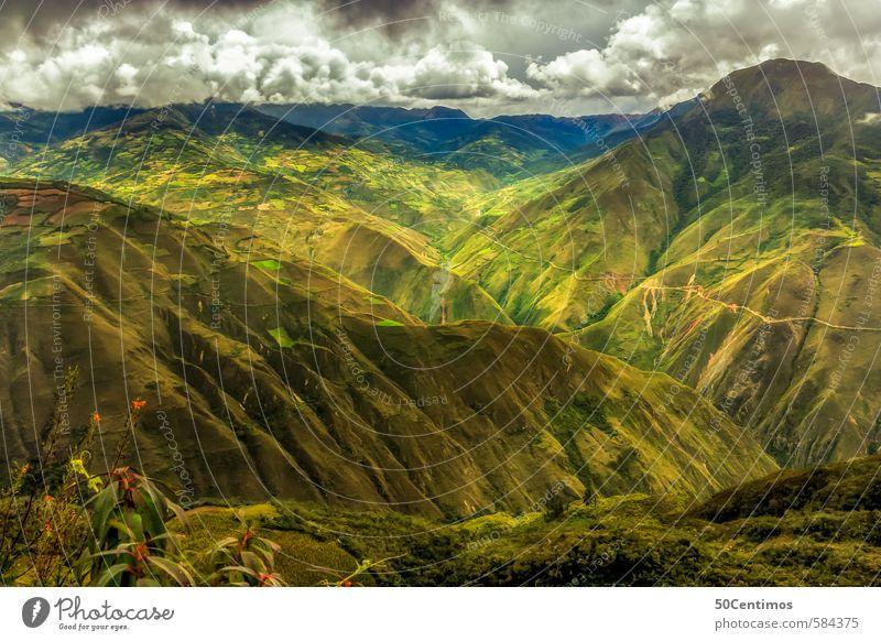 Grüne Berge/Anden in Peru - green Mountains in Peru Natur Ferien & Urlaub & Reisen Pflanze Sommer Landschaft Wolken Ferne Wiese Frühling Freiheit Ausflug