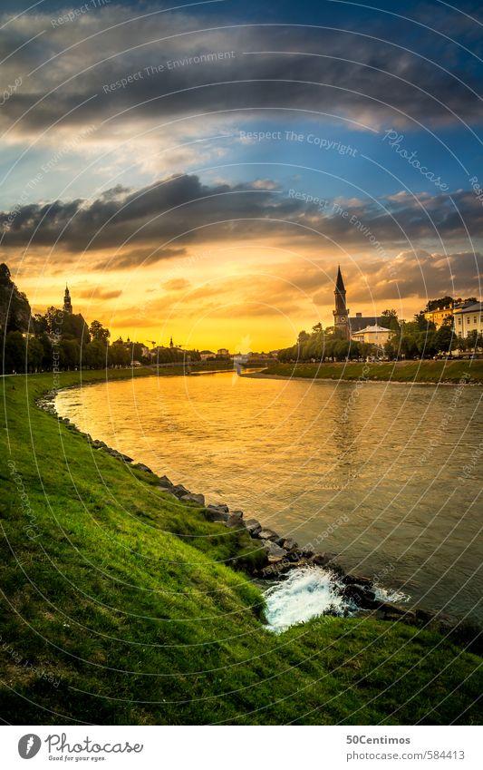 Sonnenuntergang über der Salzach in der Stadt Salzburg Natur Ferien & Urlaub & Reisen Sommer Wolken Haus Wiese Stimmung Tourismus Schönes Wetter Ausflug Kirche