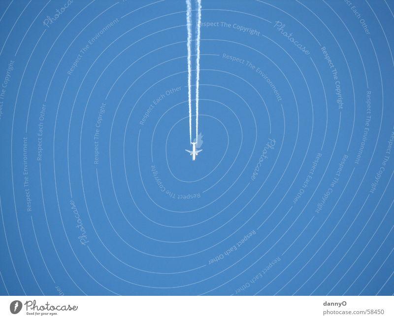 Flieger Himmel blau Flugzeug Streifen