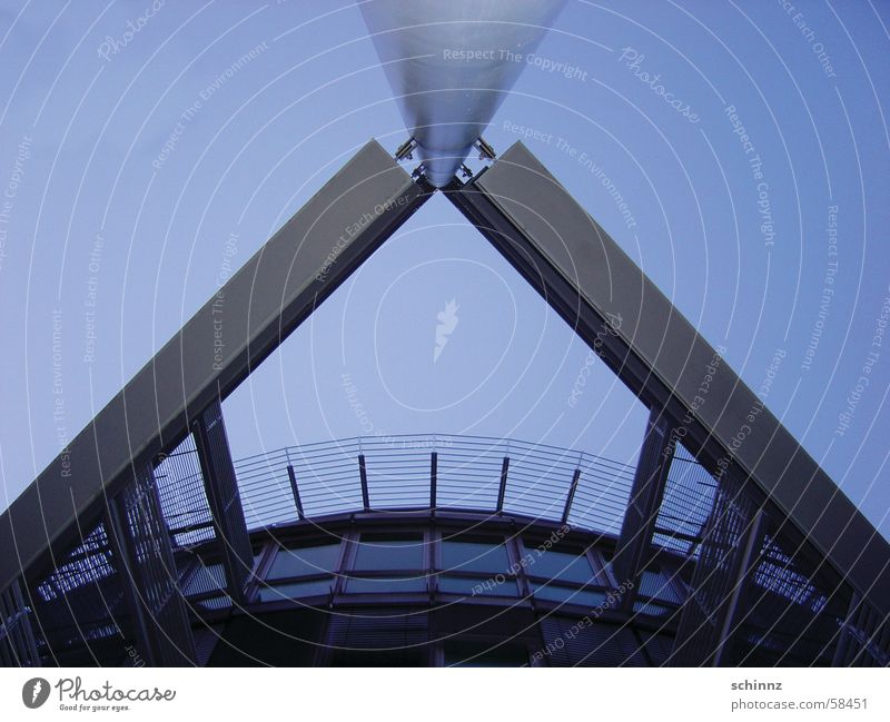 Stahlfassade Himmel blau Haus Freiheit Gebäude Glas Fassade Beton modern Stahl Bürogebäude Größe