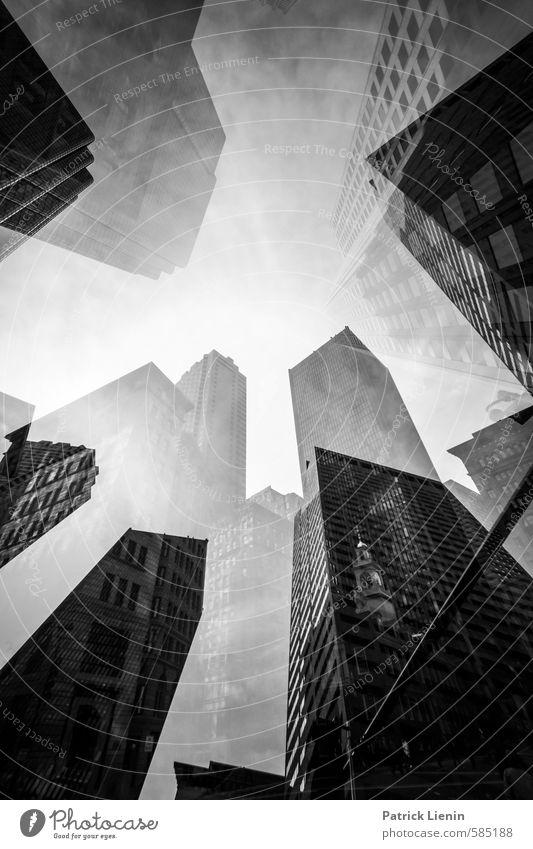 Time Travel Stadt Skyline bevölkert Hochhaus Bankgebäude Bauwerk Gebäude Architektur Beginn Angst Partnerschaft bizarr Design Einsamkeit einzigartig