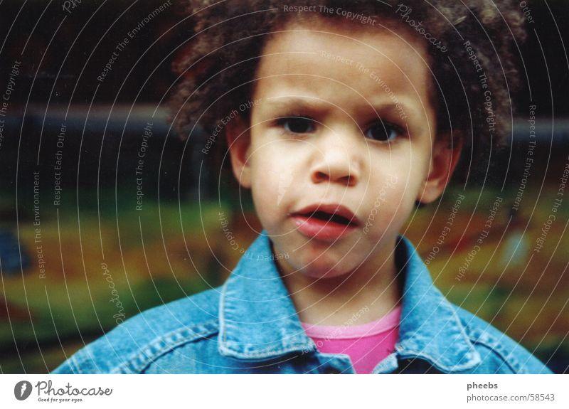 hä? Kind Locken Fragen Angst Jeansjacke Haare & Frisuren Verzweiflung stirnrunzeln