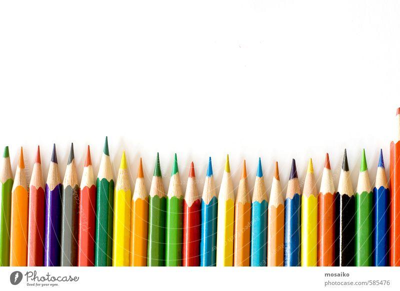 Farbstifte Schule Studium Arbeit & Erwerbstätigkeit Büro Werkzeug Kunst Schreibstift zeichnen blau gelb grün rot weiß Inspiration Kreativität Kulisse Kinder