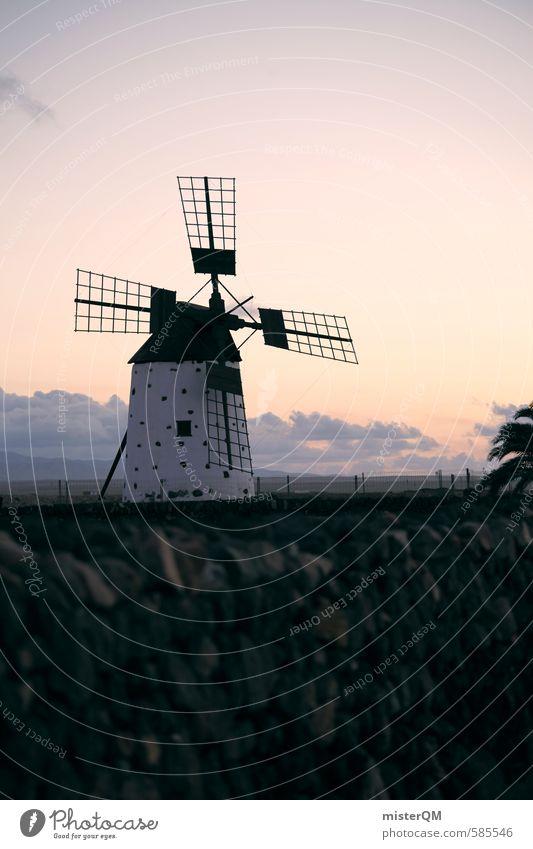 I.love.FV XLVII Kunst ästhetisch Mühle Windmühle Windmühlenflügel Himmel Spanien Fuerteventura Landwirtschaft Bauernhof Farbfoto Gedeckte Farben Außenaufnahme
