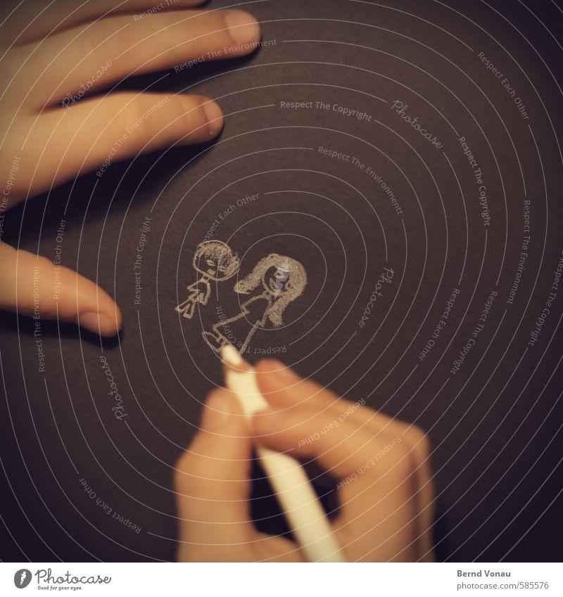 Kleinfamilie Kind Mutter Erwachsene 2 Mensch 3-8 Jahre Kindheit 18-30 Jahre Jugendliche niedlich Familie & Verwandtschaft zeichnen Hand Schreibstift Finger