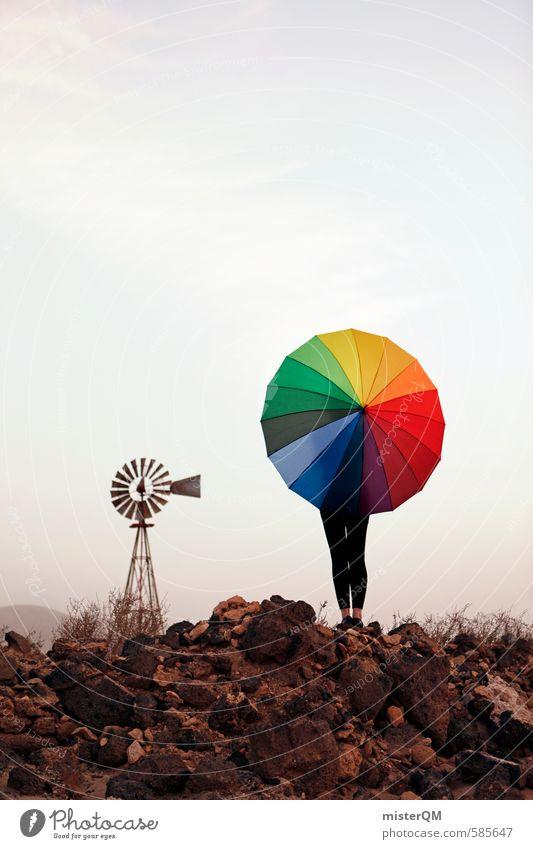 I.love.FV XL Kunst ästhetisch Zufriedenheit Regenschirm mehrfarbig Farbfleck regenbogenfarben Windmühle Spanien Idee Kreativität gestalten Kunstwerk Farbfoto