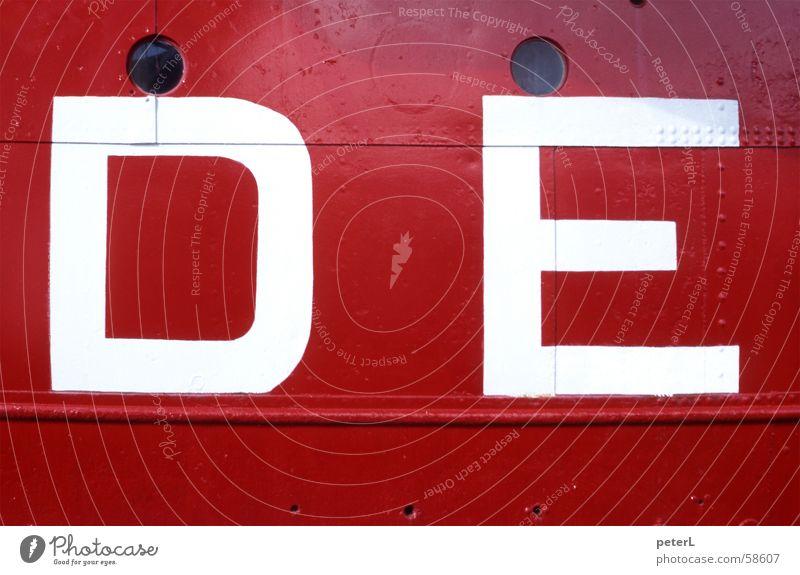 DE rot Wasserfahrzeug Buchstaben Stahl Typographie Niete Bullauge