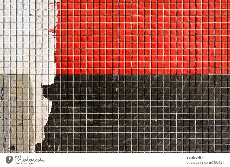 Mosaik Baustelle Bauwerk Farbe Fassade Fliesen u. Kacheln Haus Mauer Rest Stein wallroth Wand Raster kariert Linie Spalte Strukturen & Formen Quadrat Teilung