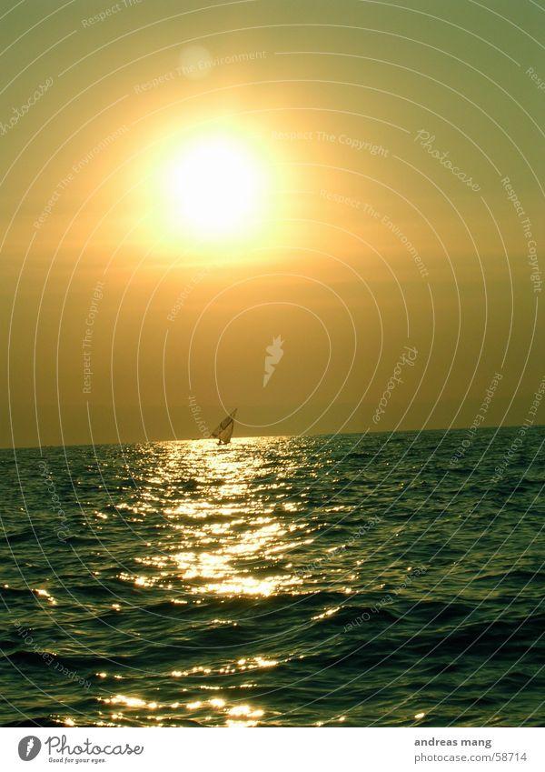 Die goldene Strasse Sonnenuntergang Wasserfahrzeug Segelboot Segeln See Wellen Straße road water sun boat sailing waves