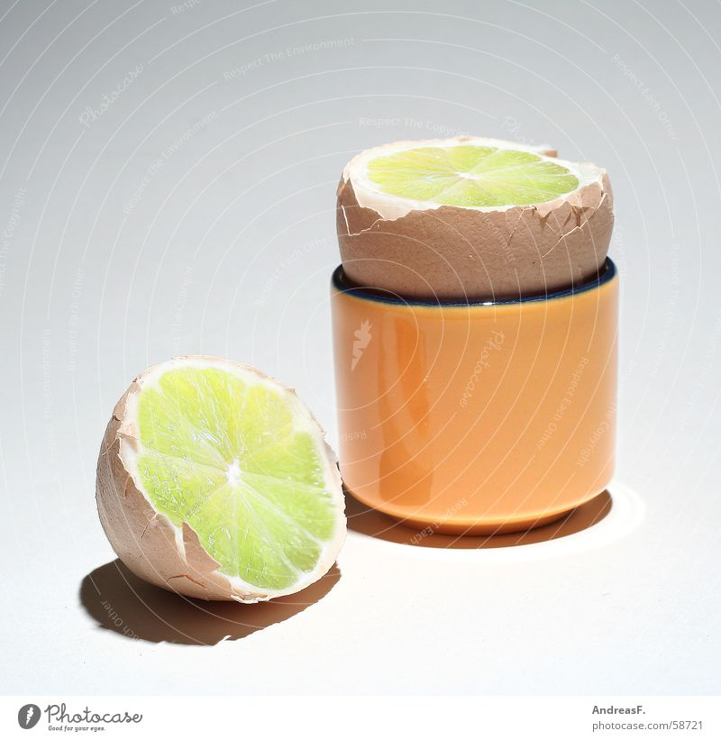 FrühtücksZitrEi Lebensmittel Frucht Ernährung Wut Frühstück exotisch Ei Schalen & Schüsseln Zitrone Haushuhn Täuschung Osterei Schwindelgefühl Brandenburg betrügen Collage