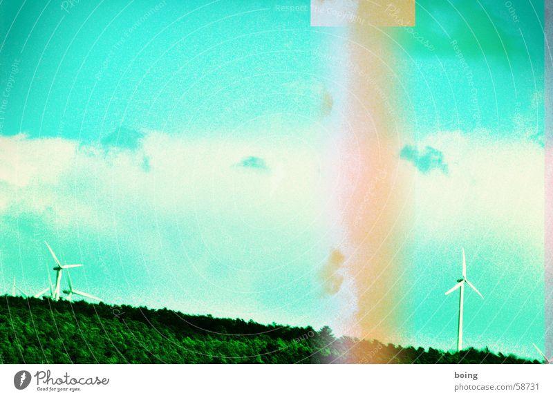 Ökos, die leben hinterm Wald | eins Windkraftanlage alternativ regenerativ Elektrizität kaputt Störung Strommast Papierstau Erneuerbare Energie Drogerie