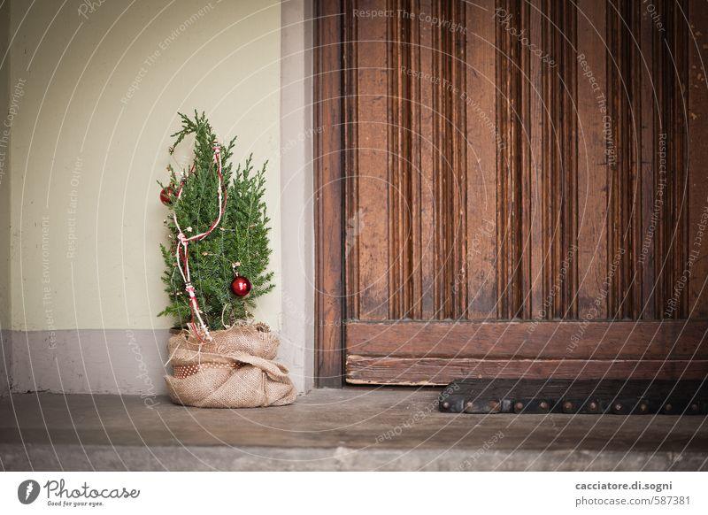 Merry Christmas Weihnachten & Advent Baum Tür Hauseingang Weihnachtsbaum Fußmatte einfach Freundlichkeit klein braun grün Vorfreude Geborgenheit Vorsicht ruhig